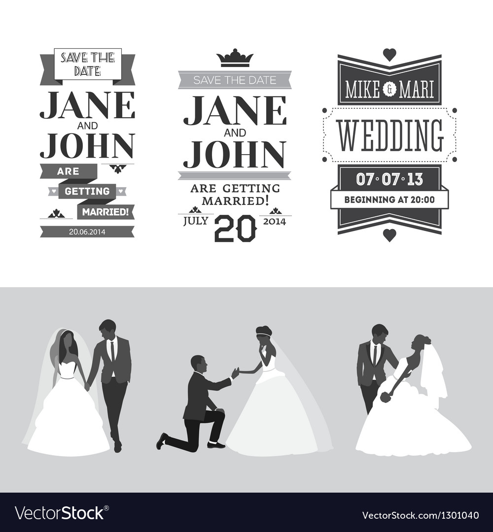 Set of wedding design elements vector | Price: 1 Credit (USD $1)