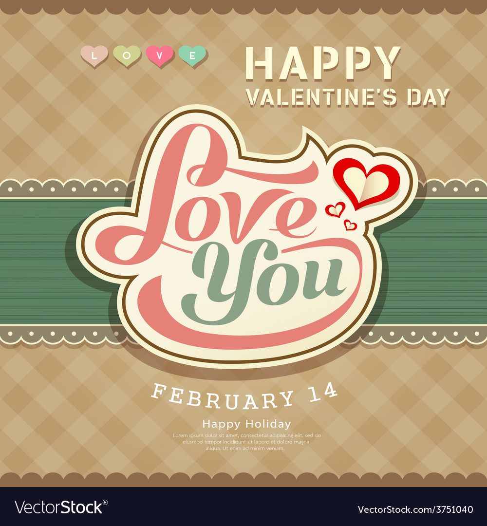 Valentines day message love you banner vector | Price: 1 Credit (USD $1)