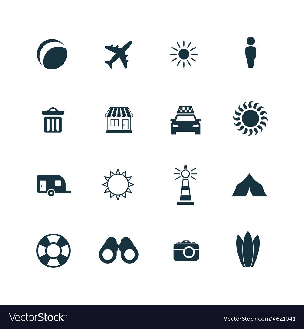 Beach icons set vector | Price: 1 Credit (USD $1)