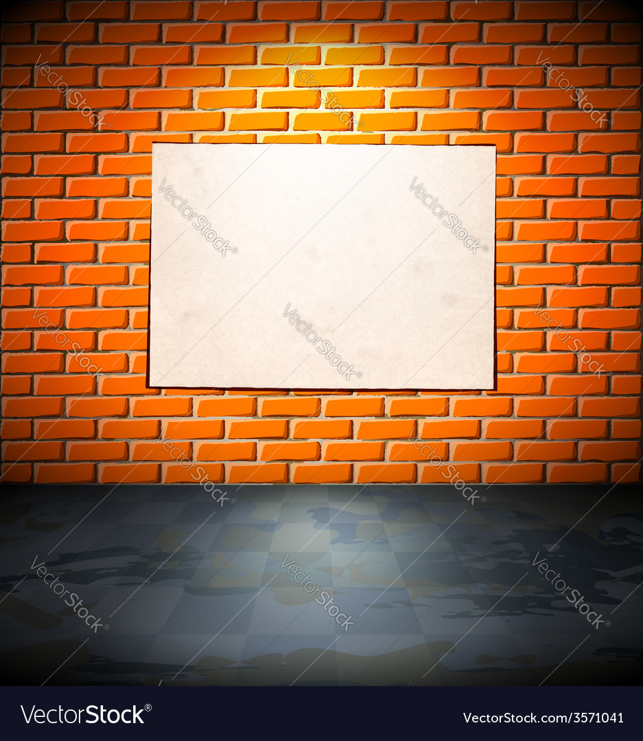 Blank poster on the brick wall vector | Price: 1 Credit (USD $1)