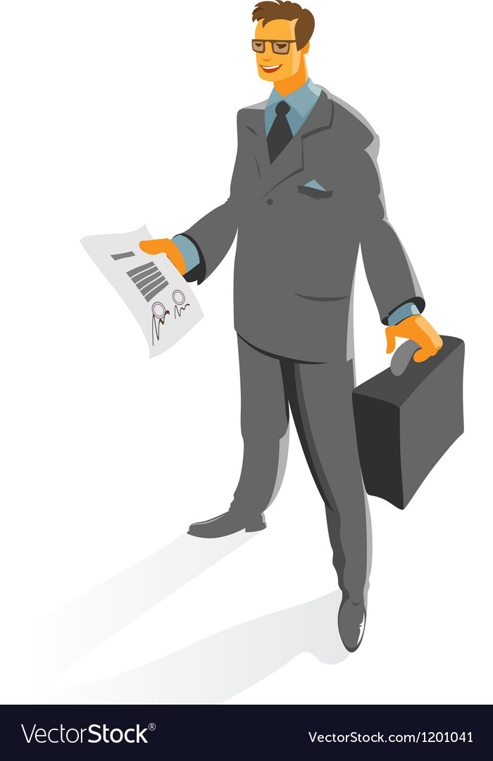 Businessman with contract vector | Price: 1 Credit (USD $1)