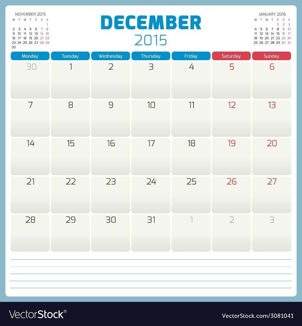 Calendar planner 2015 template week starts monday vector | Price: 1 Credit (USD $1)