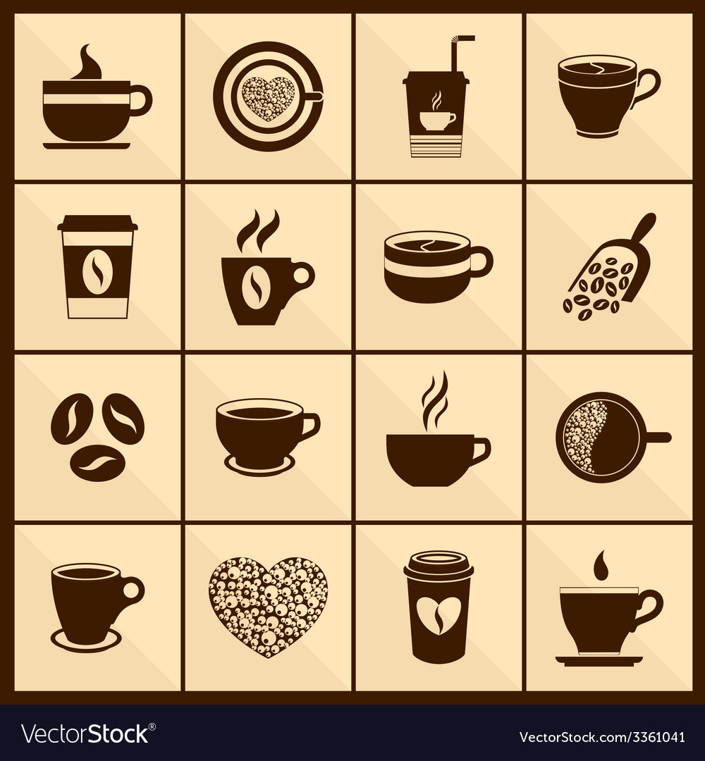 Coffee cup icons black vector | Price: 1 Credit (USD $1)
