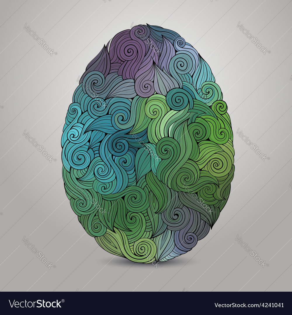 Doodles ornament easter egg background vector | Price: 1 Credit (USD $1)
