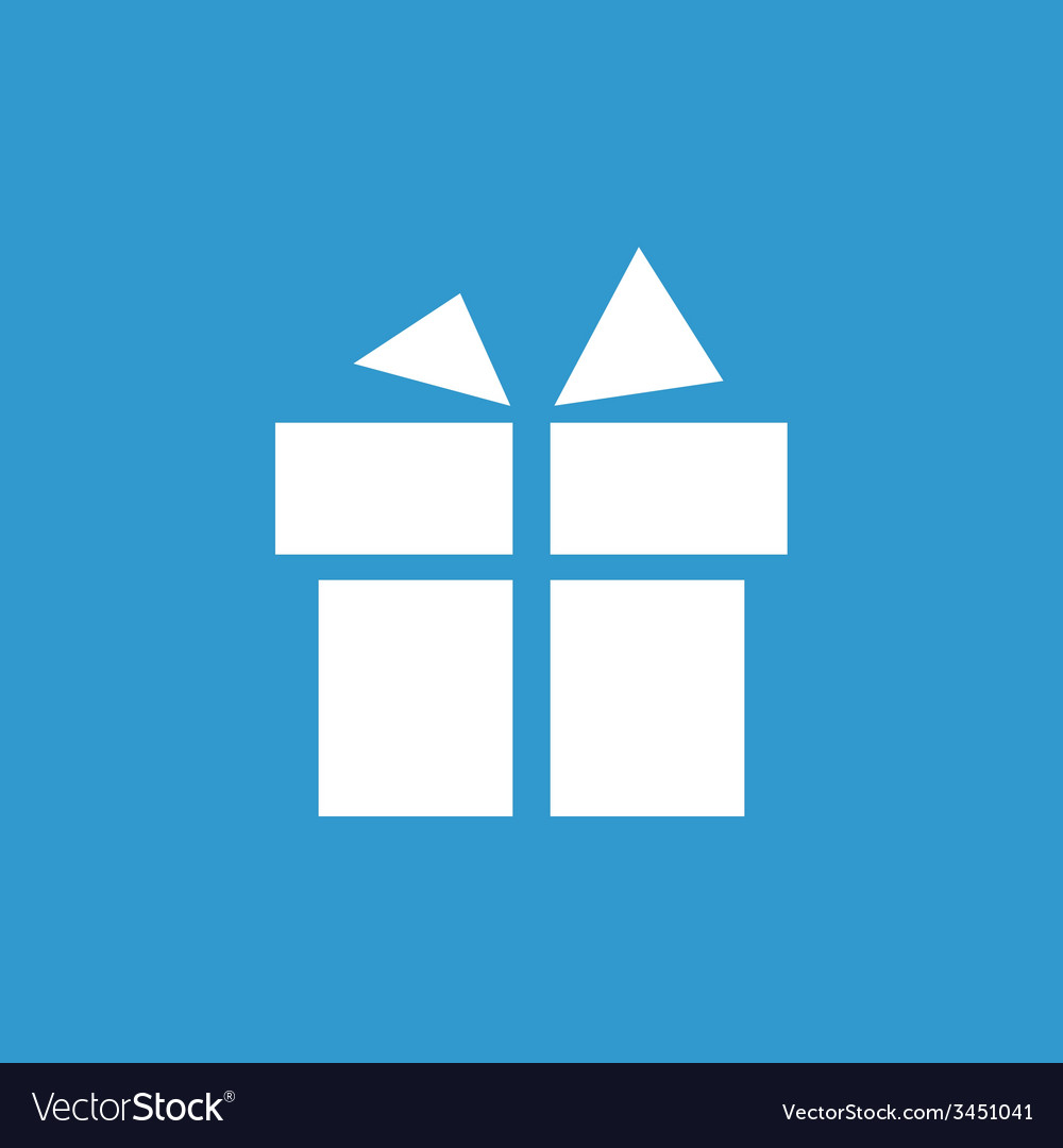 Gift icon white on the blue background vector | Price: 1 Credit (USD $1)