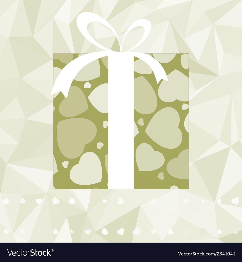 Hearts on gift box elegant retro card eps 8 vector | Price: 1 Credit (USD $1)