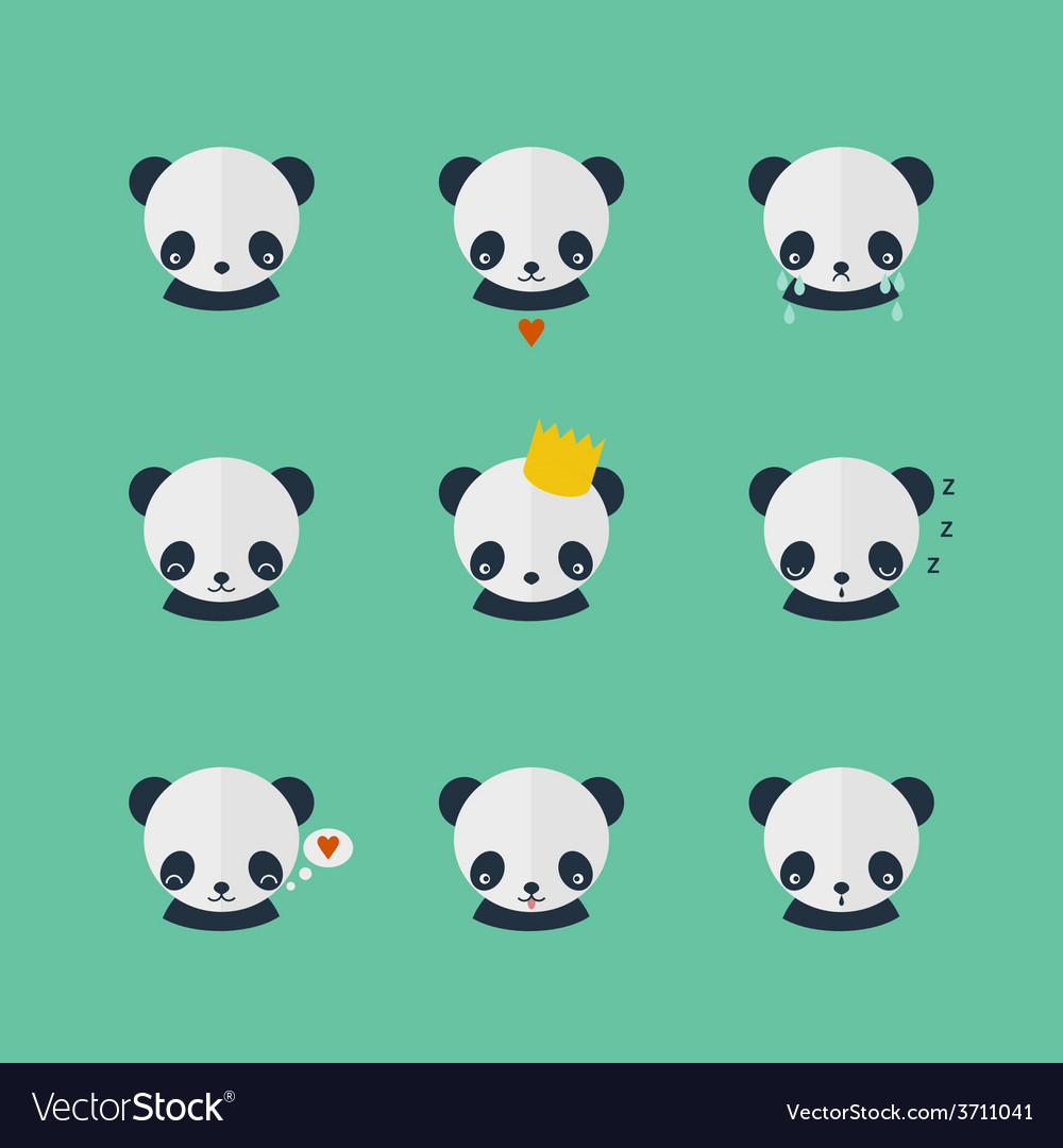 Panda icons set in flat design vector | Price: 1 Credit (USD $1)