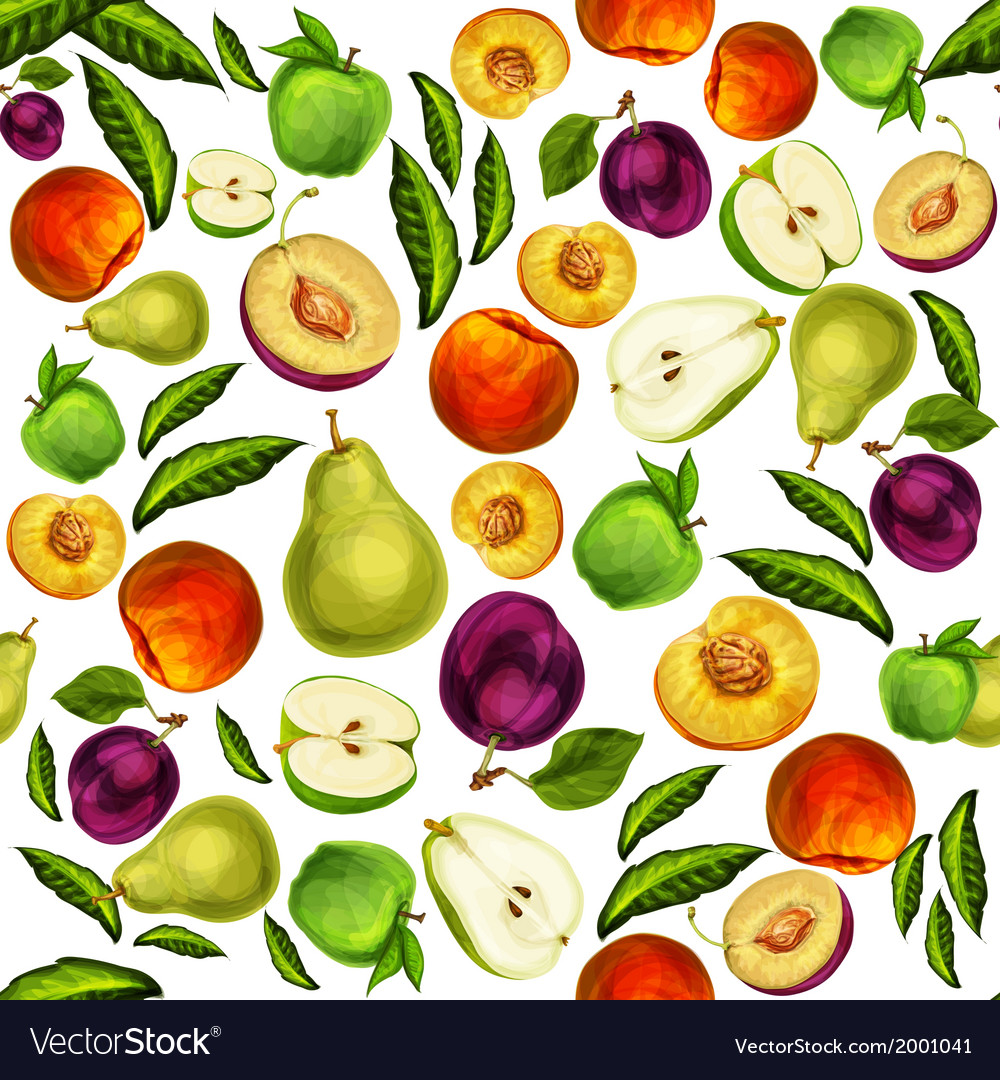 Seamless mixed sliced fruits pattern background vector | Price: 1 Credit (USD $1)