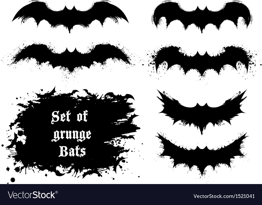 Set of grunge bats vector | Price: 1 Credit (USD $1)