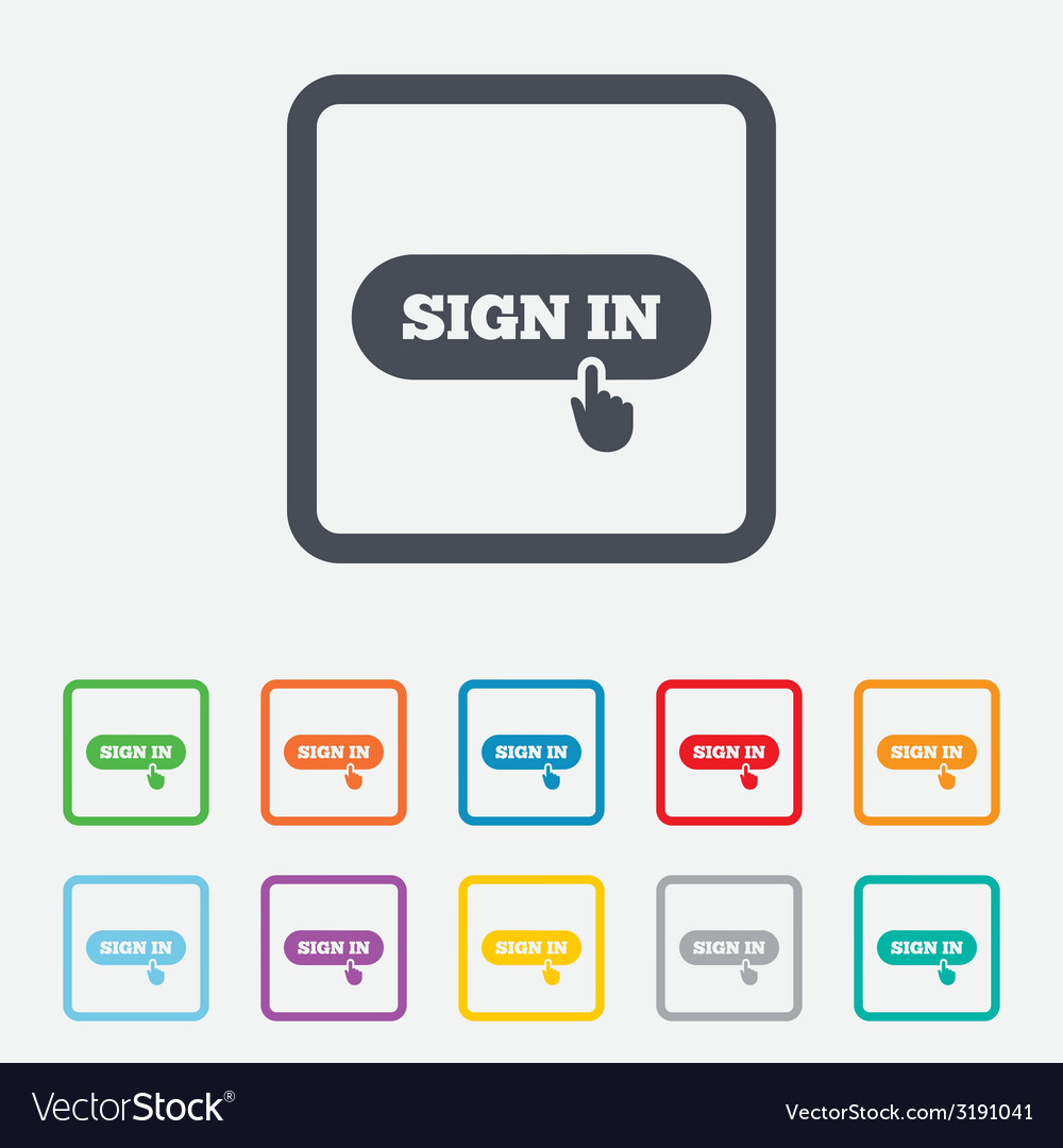 Sign in with hand pointer icon login symbol vector | Price: 1 Credit (USD $1)