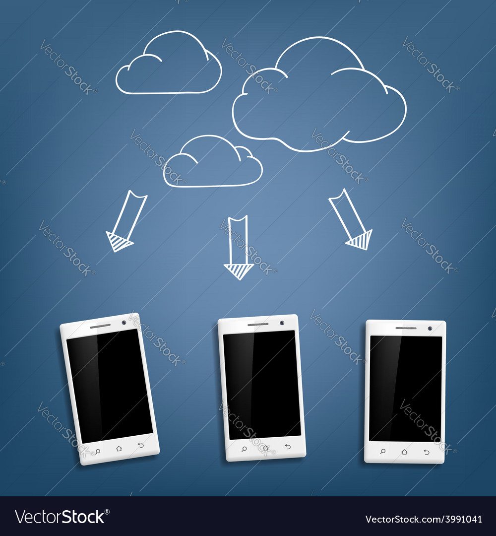 Smartphone and cloud data storage vector | Price: 1 Credit (USD $1)