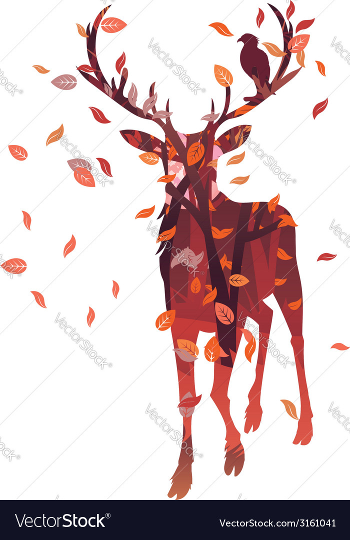 Stag silhouette with forest vector | Price: 1 Credit (USD $1)