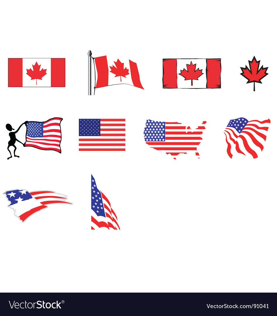 Usa canada flags vector | Price: 1 Credit (USD $1)