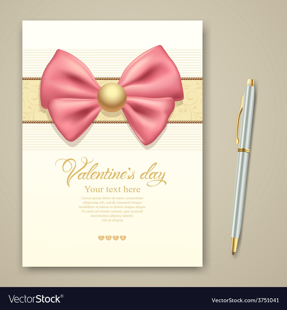 Valentine greeting card pink ribbon vector | Price: 3 Credit (USD $3)