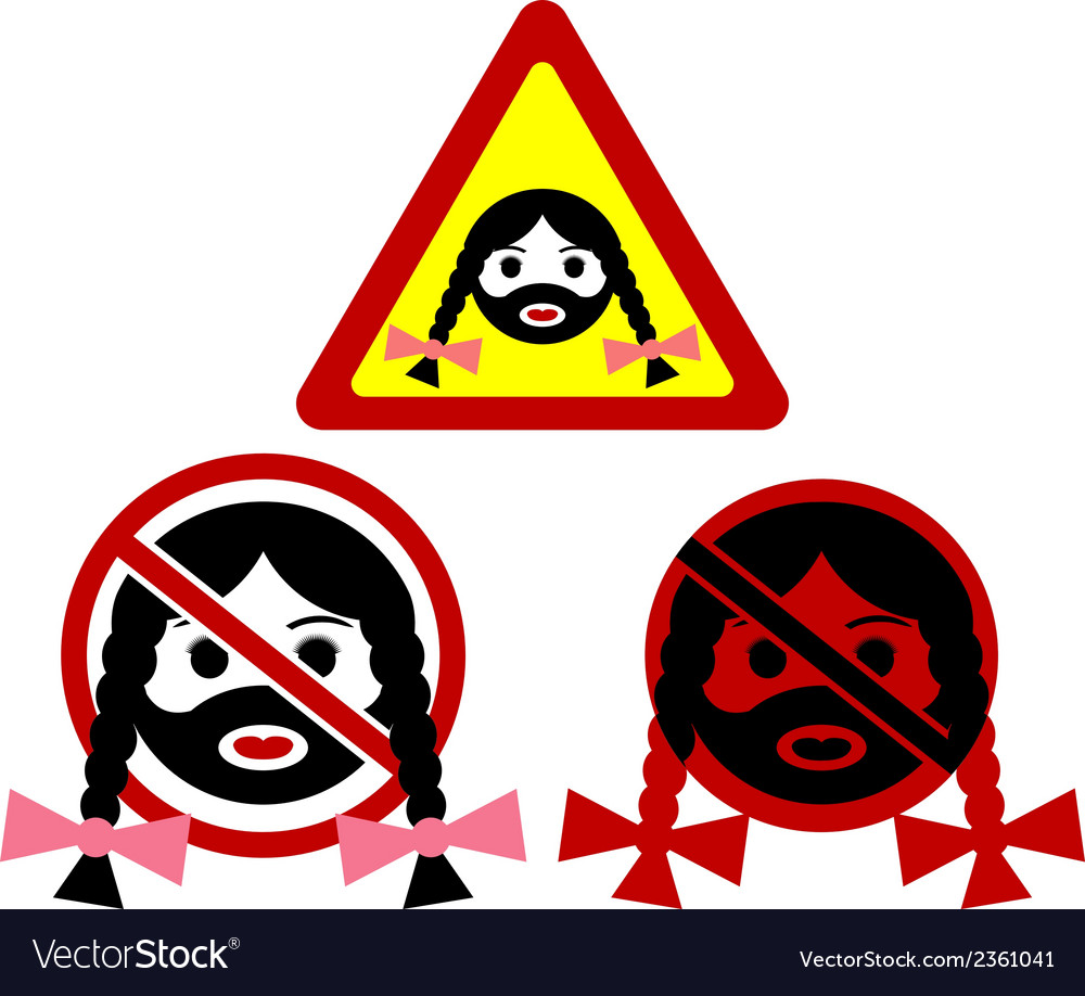Warning signs of bearded woman vector | Price: 1 Credit (USD $1)
