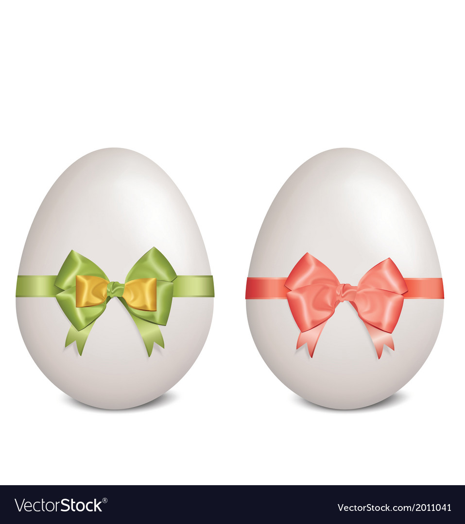White easter eggs with bows and ribbons vector | Price: 1 Credit (USD $1)