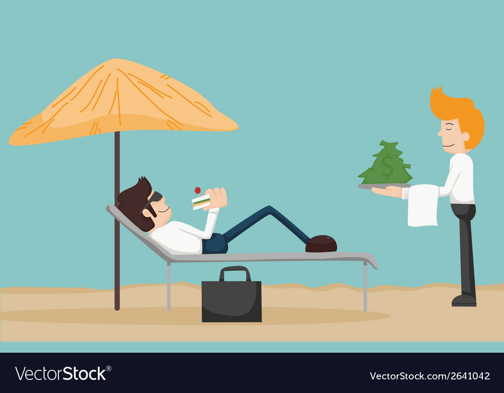 Business man relaxing on the beach vector | Price: 1 Credit (USD $1)