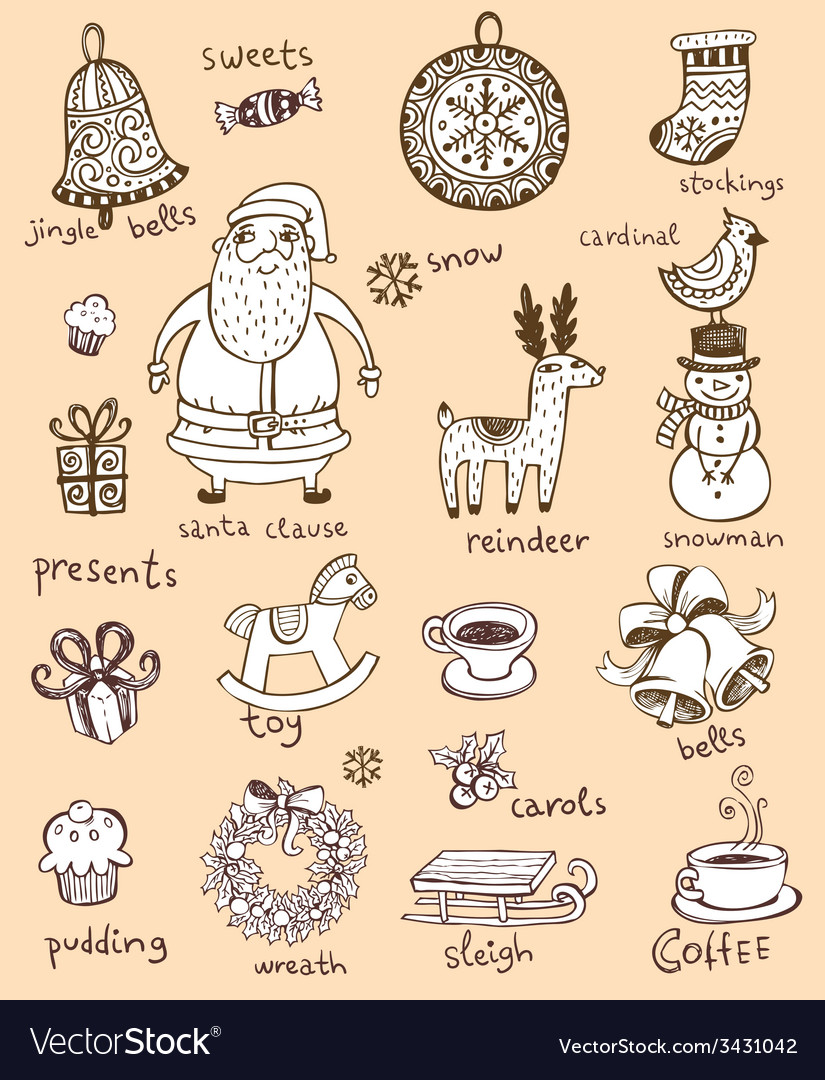 Christmas doodle symbols vector | Price: 1 Credit (USD $1)