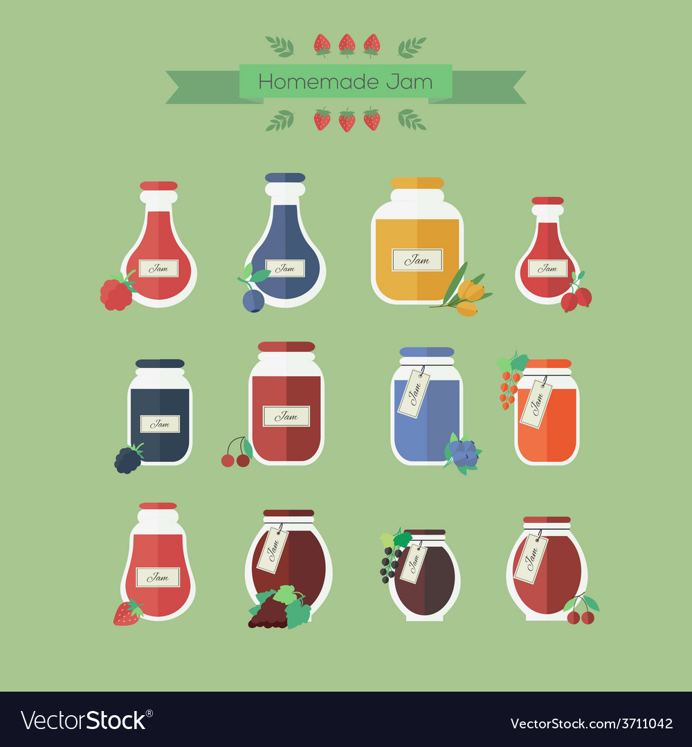 Collection of jars with jam objects in vector