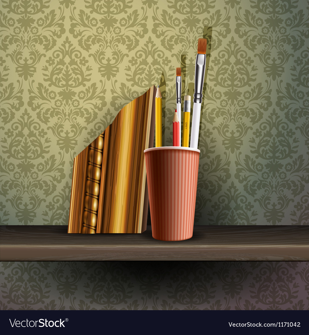Different art brushes and pencils in flask vector | Price: 3 Credit (USD $3)