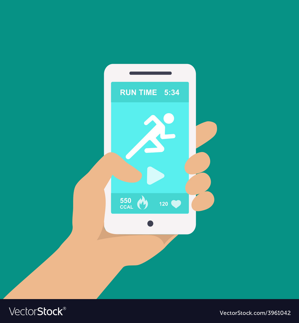 Fitness app on a mobile phone in hand vector | Price: 1 Credit (USD $1)