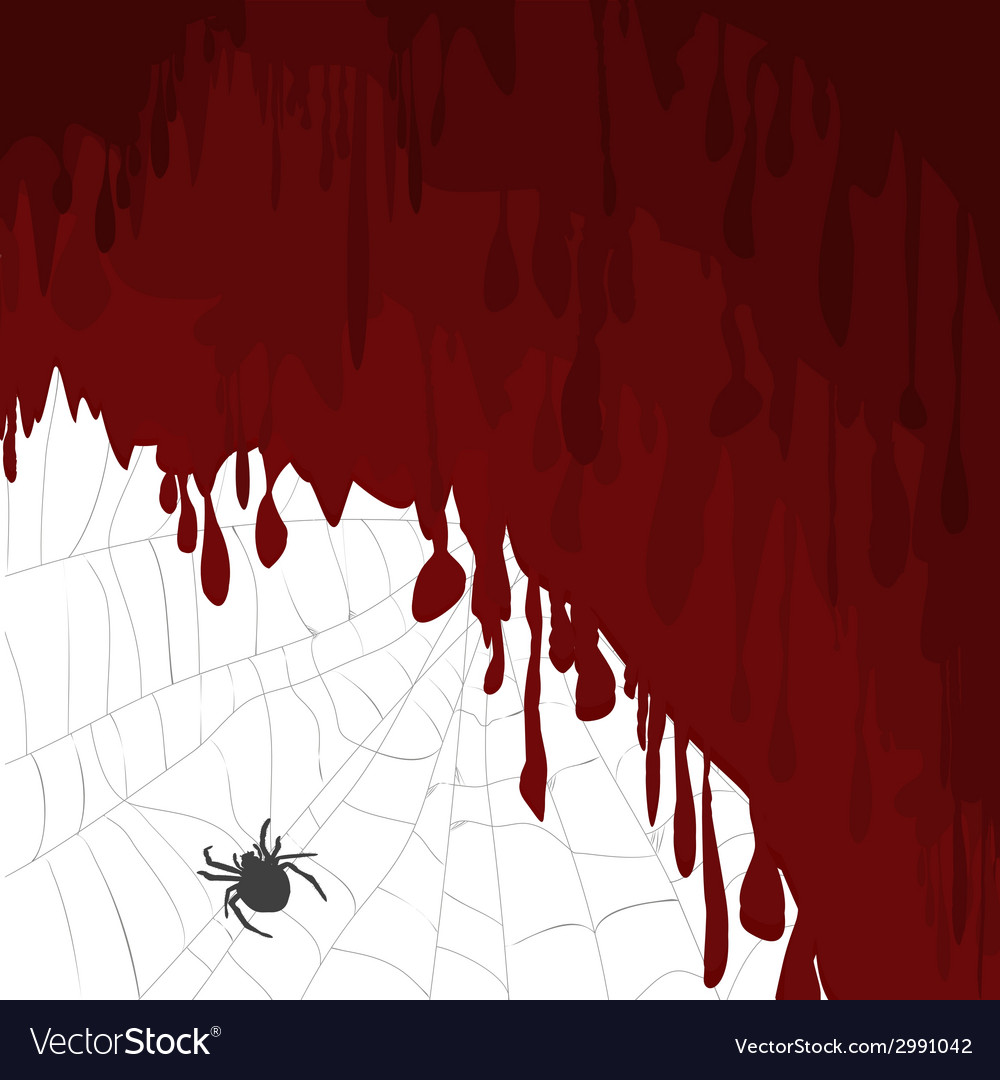 Halloween card with bloody background and spider vector | Price: 1 Credit (USD $1)