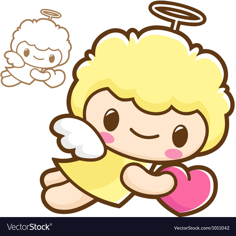 Holding hearts flying angel characters vector | Price: 3 Credit (USD $3)