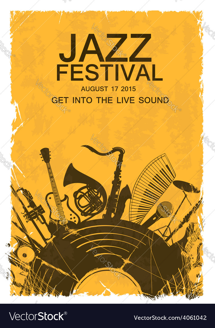 Invitation with musical instruments and vinyl vector   Price: 1 Credit (USD $1)