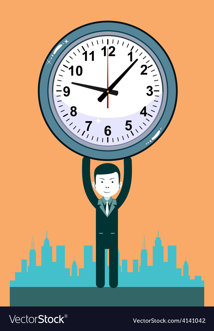 Man with clocks symbolizing time management vector | Price: 1 Credit (USD $1)