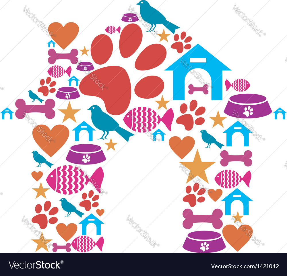 Pet kennel shape made with icon set vector | Price: 1 Credit (USD $1)