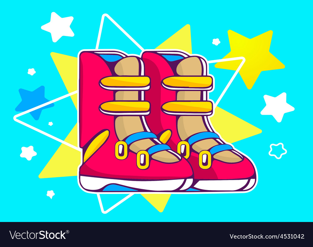 Red boots on blue star background vector | Price: 1 Credit (USD $1)