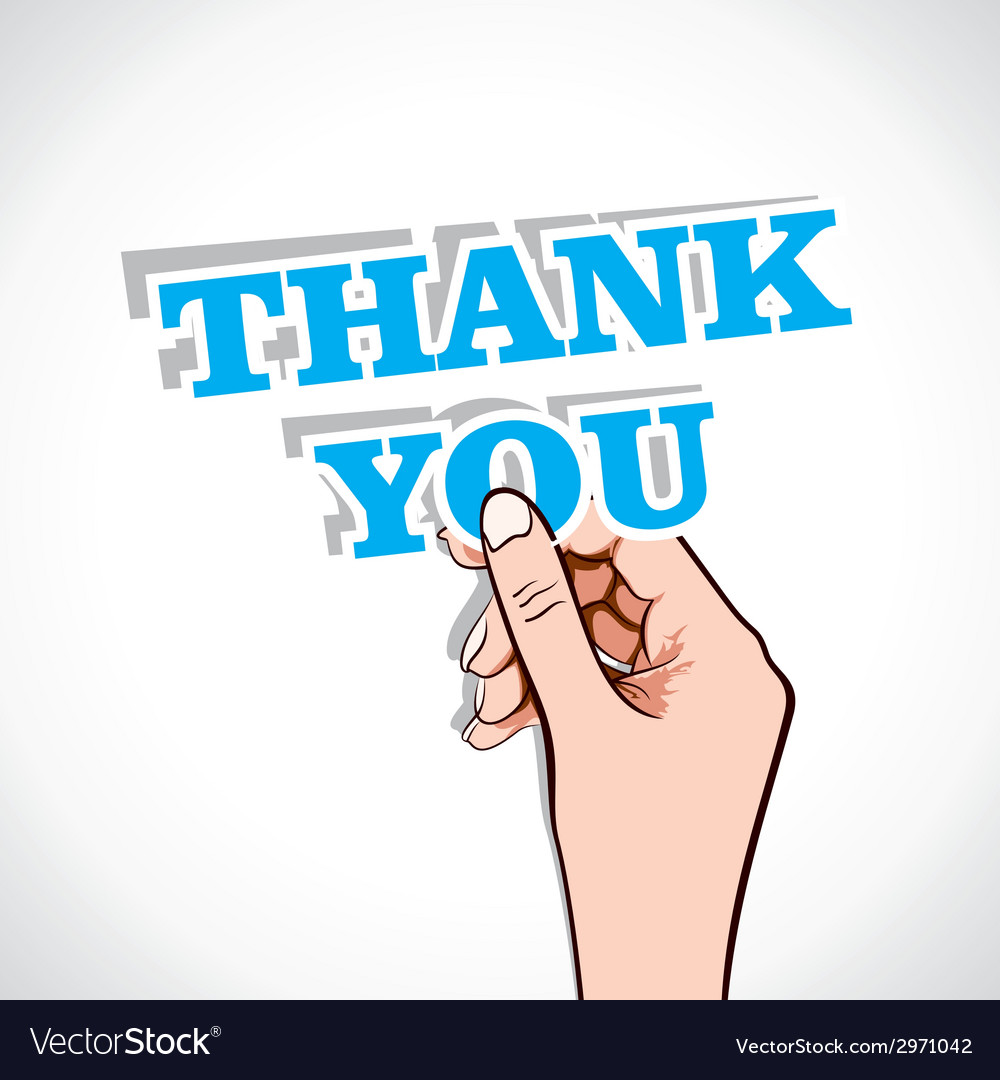 Thank you sticker in hand vector | Price: 1 Credit (USD $1)