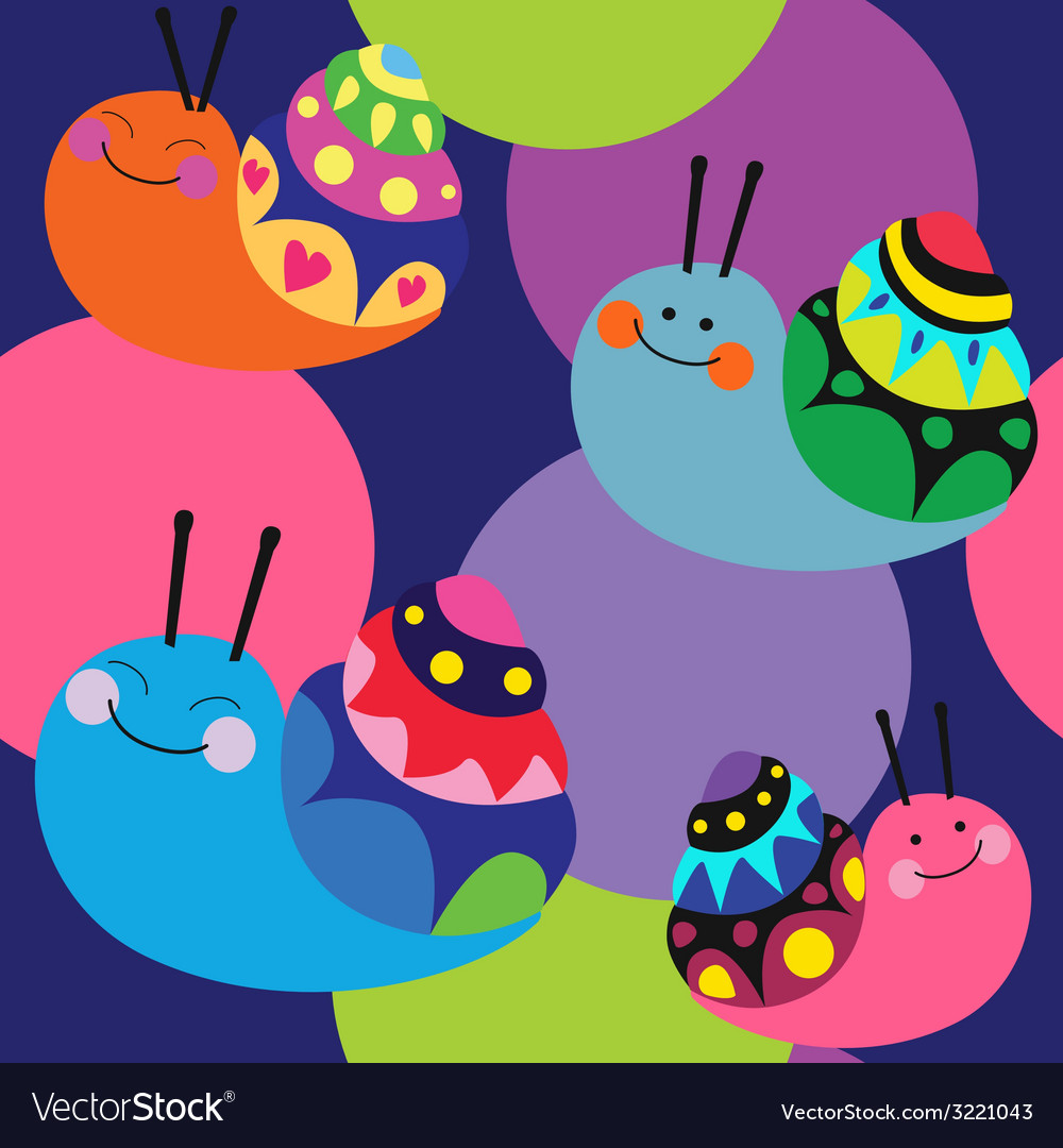 Cartoon color pattern with snails vector | Price: 1 Credit (USD $1)