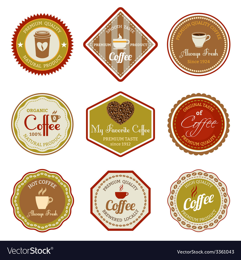 Coffee labels set vector | Price: 1 Credit (USD $1)