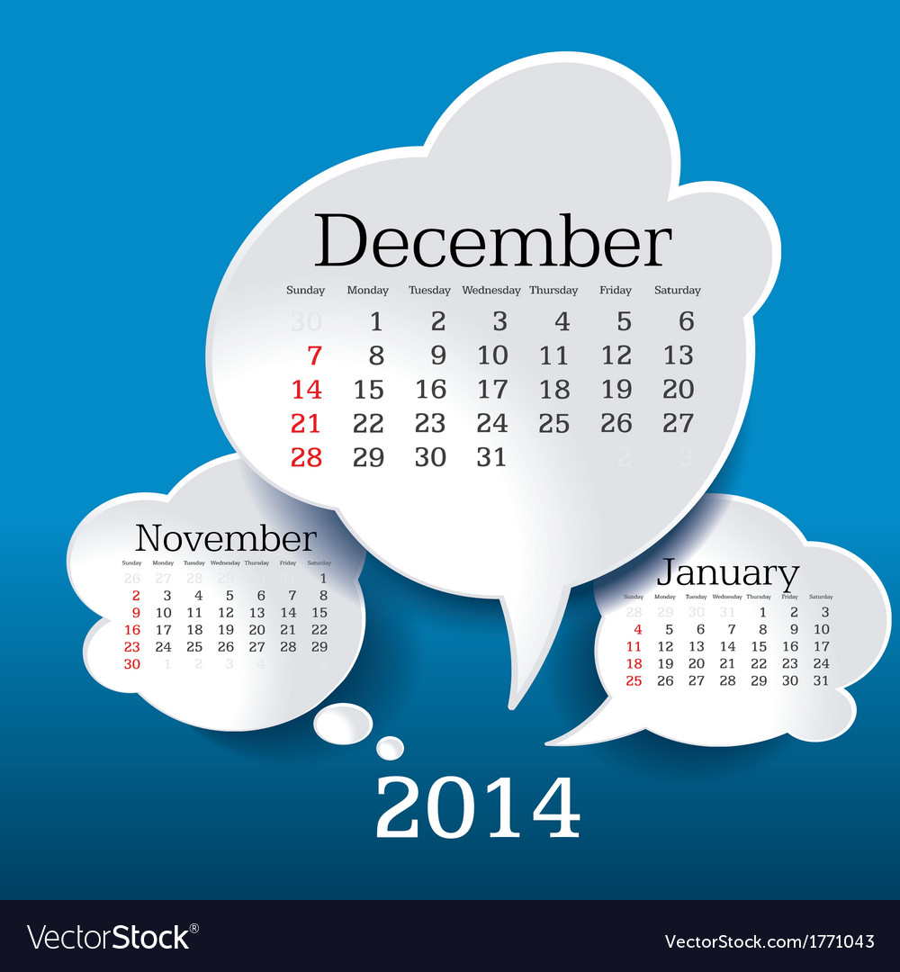 December 2014 bubble speech calendar vector | Price: 1 Credit (USD $1)