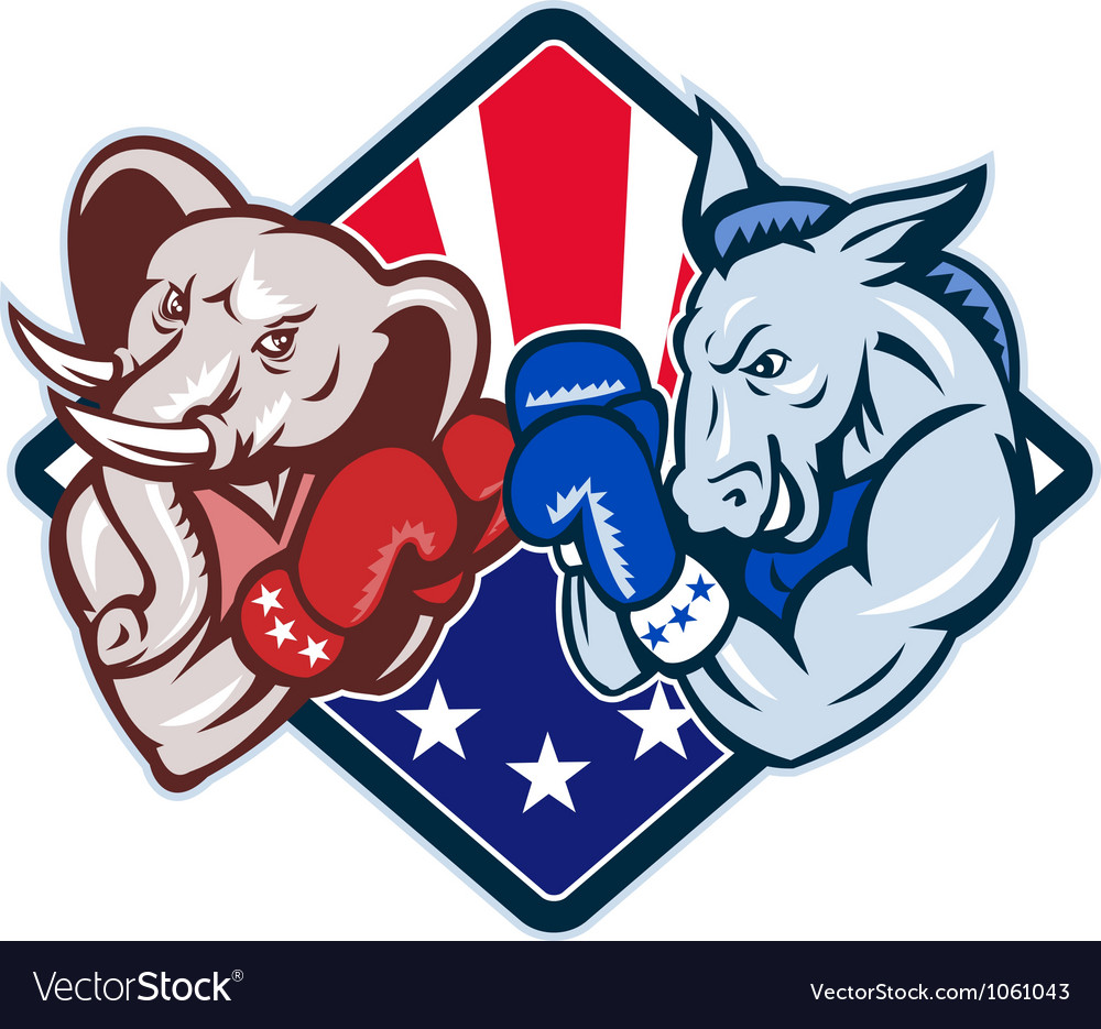Democrat donkey republican elephant mascot boxing vector | Price: 1 Credit (USD $1)