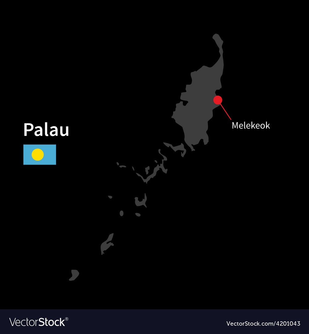 Detailed map of palau and capital city melekeok vector | Price: 1 Credit (USD $1)