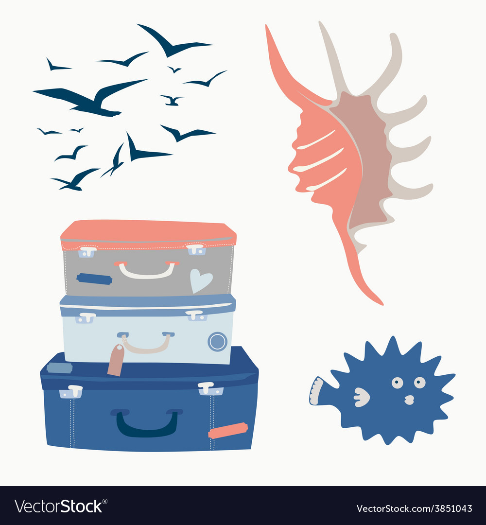 Sea voyage set vector | Price: 1 Credit (USD $1)