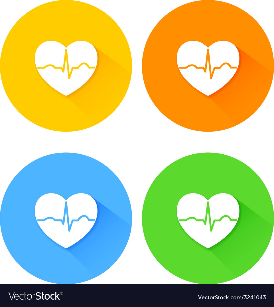 Set of flat long shadow heart icons vector | Price: 1 Credit (USD $1)