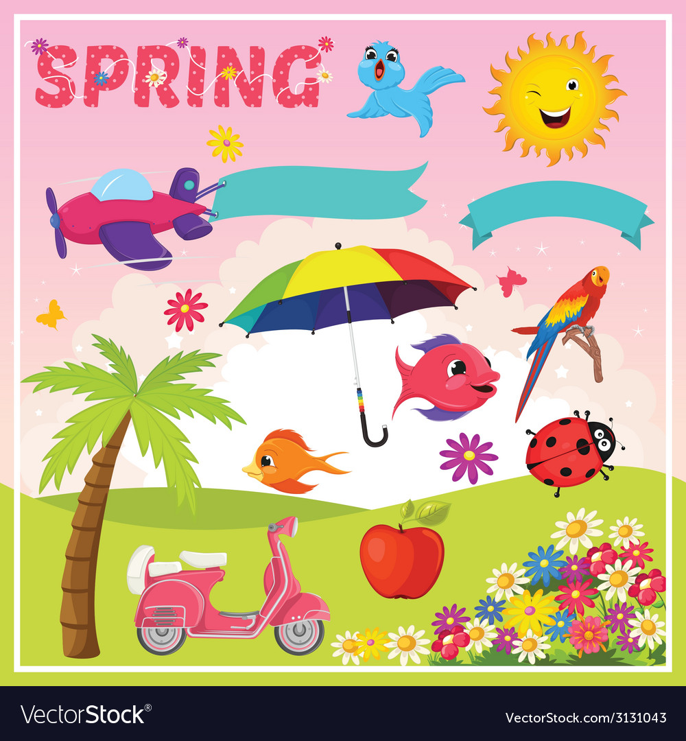 Set of spring elements and vector | Price: 1 Credit (USD $1)