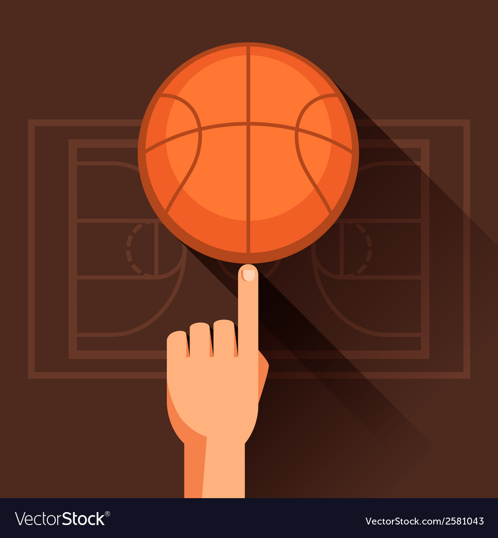 Sports of hand spinning basketball ball vector | Price: 1 Credit (USD $1)