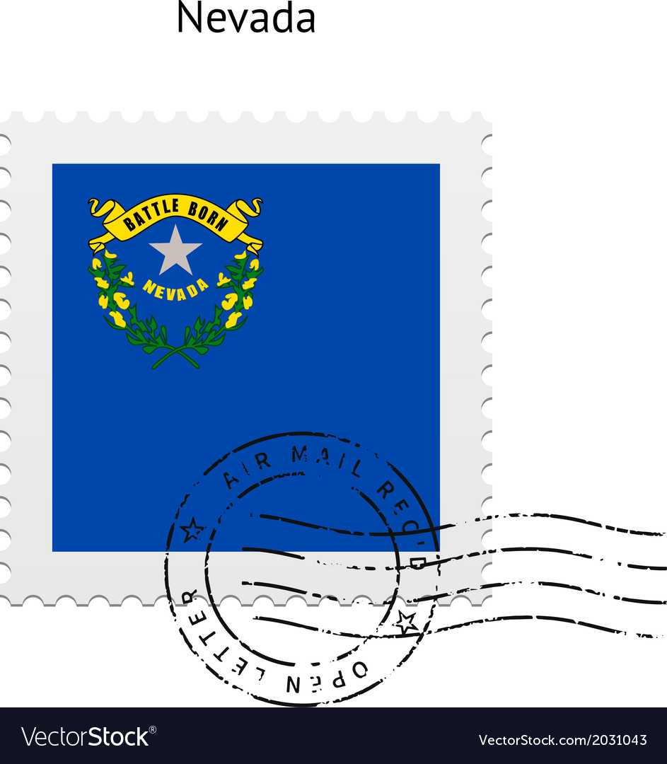 State of nevada flag postage stamp vector | Price: 1 Credit (USD $1)