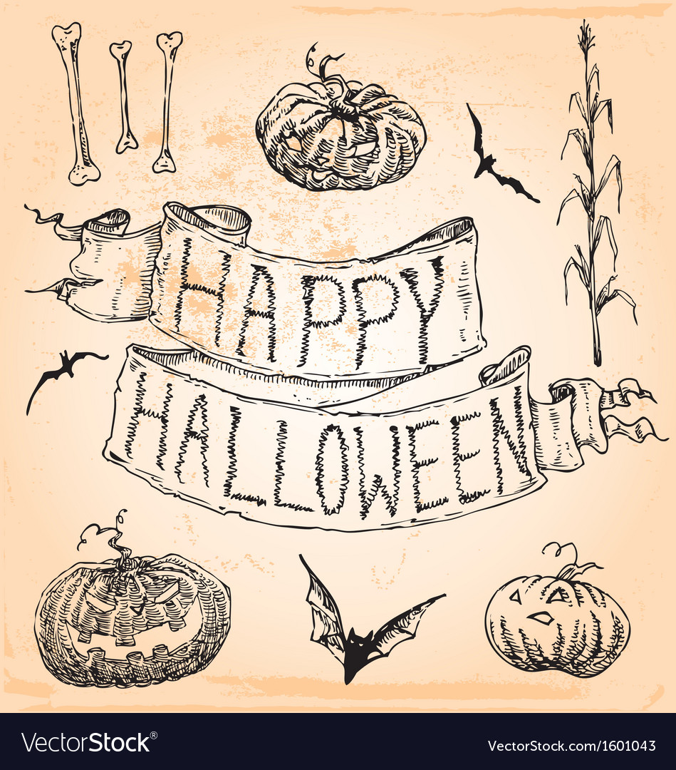 Vintage hand drawn halloween set seven vector | Price: 1 Credit (USD $1)