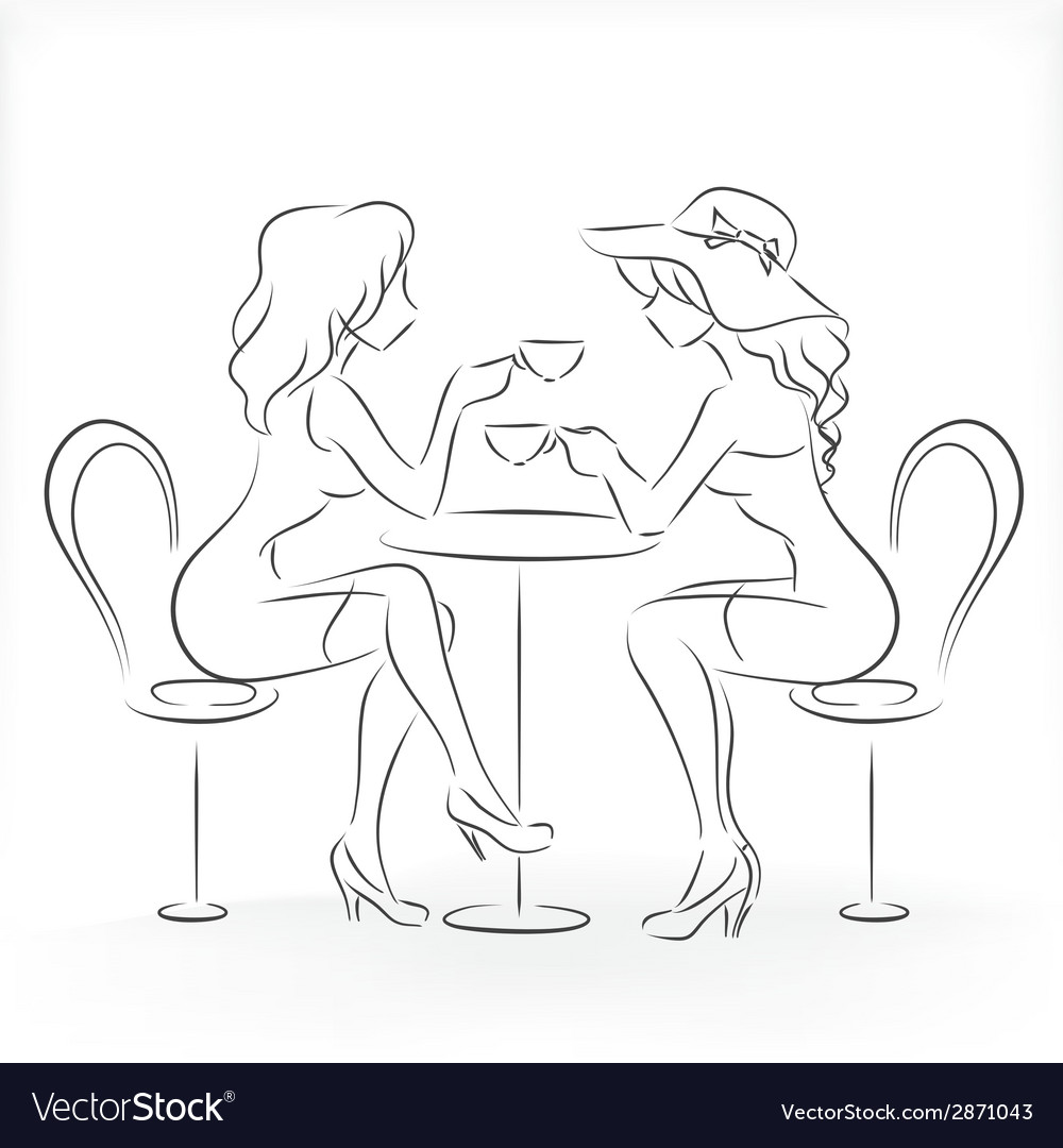 Woman sit in the cafe and drink coffee vector | Price: 1 Credit (USD $1)