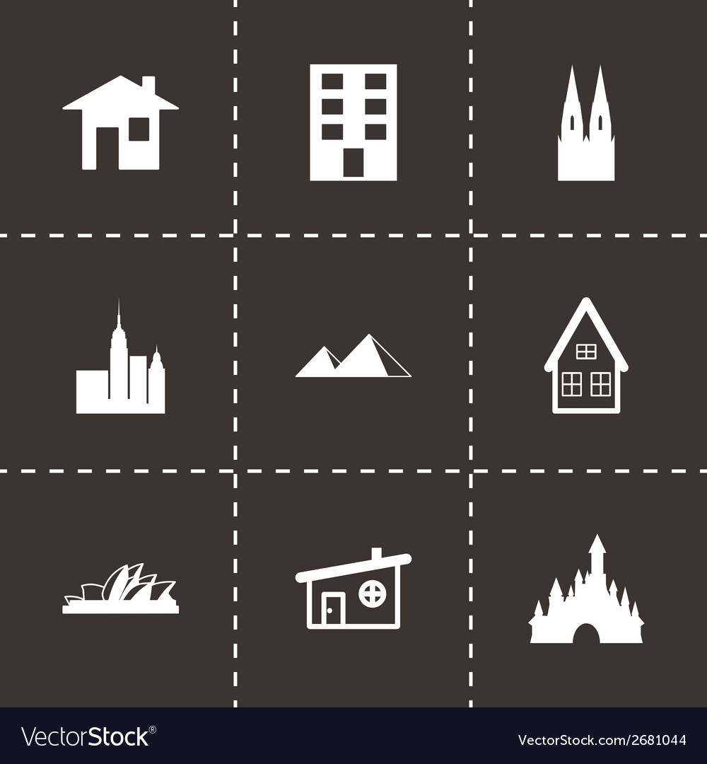 Black buildings icons set vector | Price: 1 Credit (USD $1)