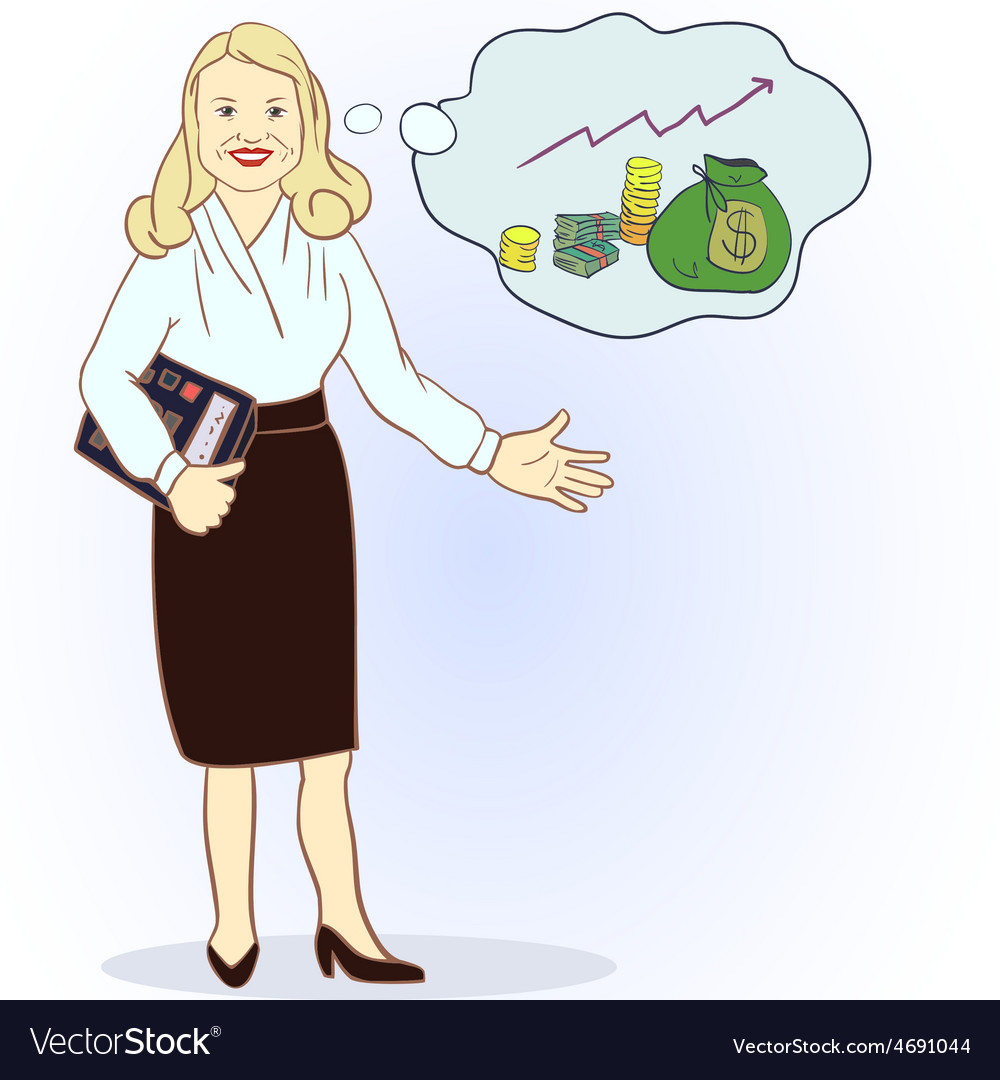 Business woman with a calculator and a full bag of vector | Price: 1 Credit (USD $1)