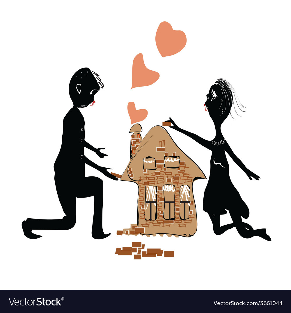 Couple building house vector | Price: 1 Credit (USD $1)