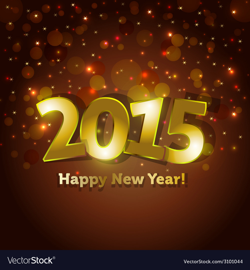 Golden 2015 happy new year greeting card vector | Price: 1 Credit (USD $1)