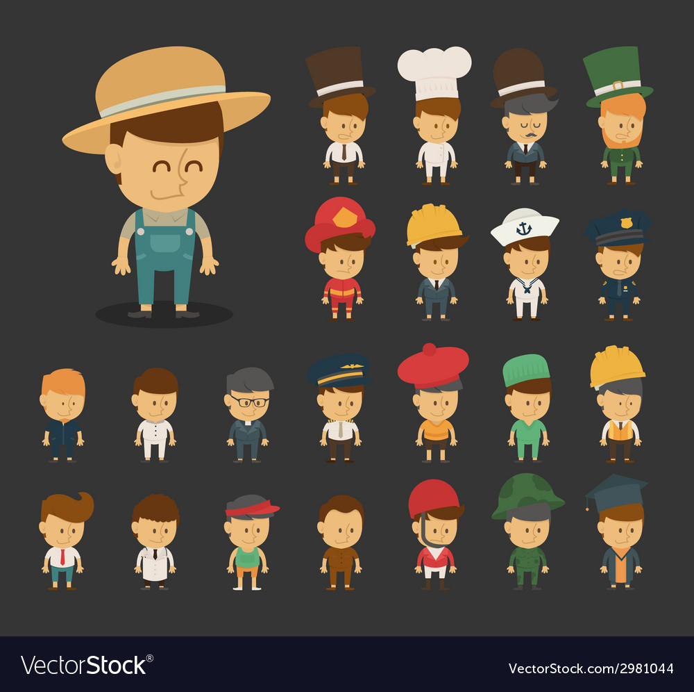 Group of professions cartoon characters vector | Price: 1 Credit (USD $1)