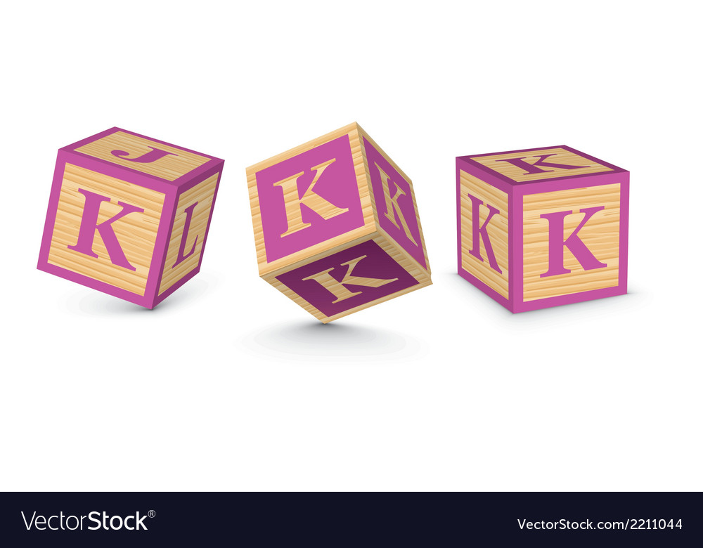 Letter k wooden alphabet blocks vector | Price: 1 Credit (USD $1)